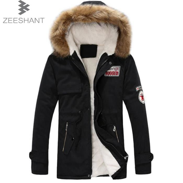 zeeshant manteau femme parka homme fille fourrure avec capuche noir noir achat vente parka. Black Bedroom Furniture Sets. Home Design Ideas