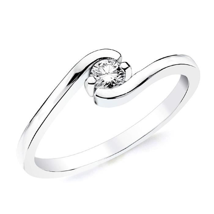 Bague solitaire Or blanc 18 0,150ct 1 diamant brillant. [AB2835] - Taille: 54