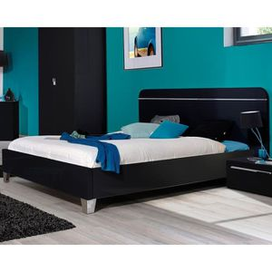 lit noir laque 140x190 achat vente lit noir laque 140x190 pas cher cdiscount. Black Bedroom Furniture Sets. Home Design Ideas