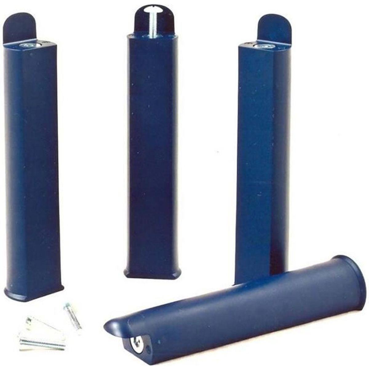 PIED DE LIT Jeu de 4 pieds 28 cm bleus pour cadre à lattes