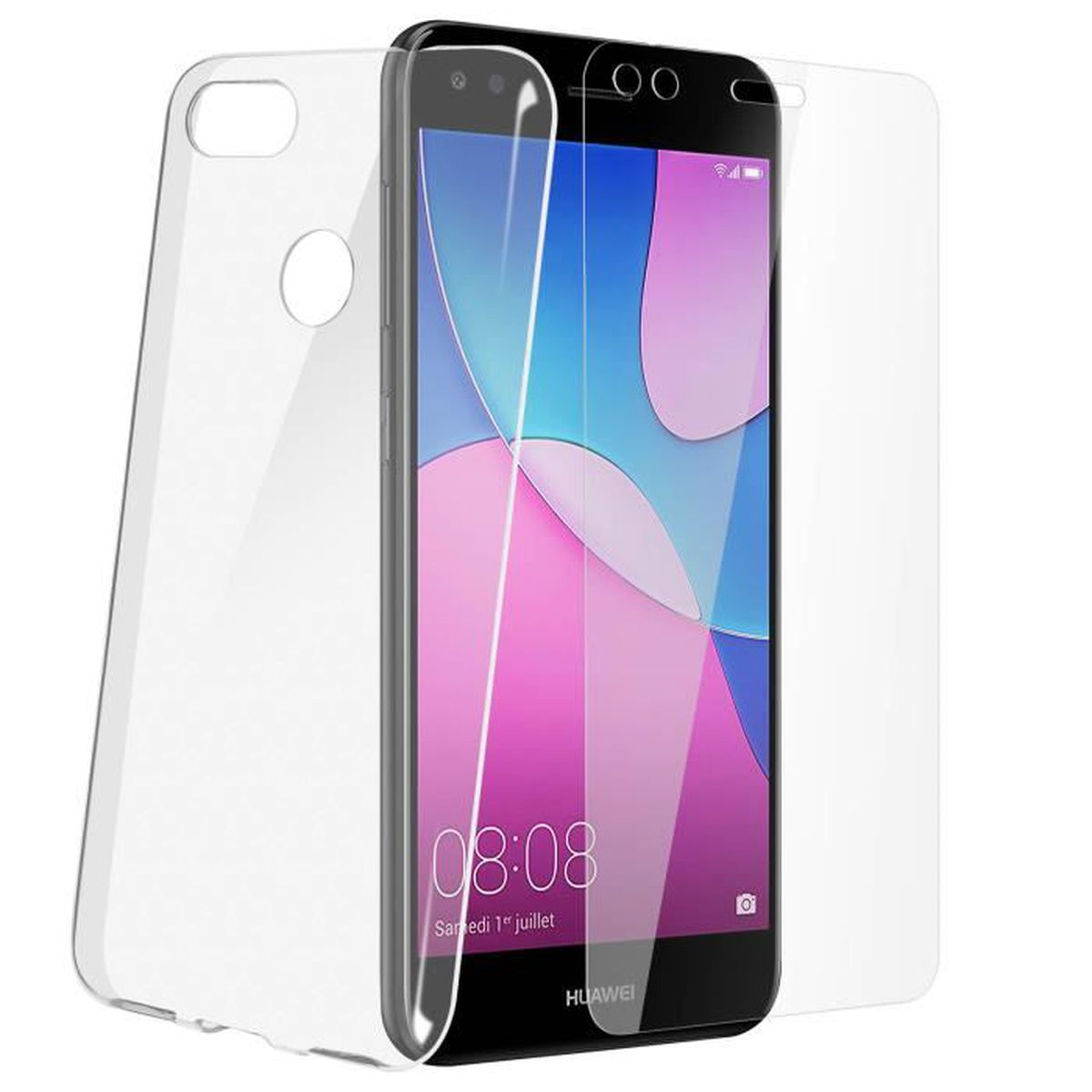 Pack Protection Huawei Y6 Pro 2017 Coque transparente film verre ...
