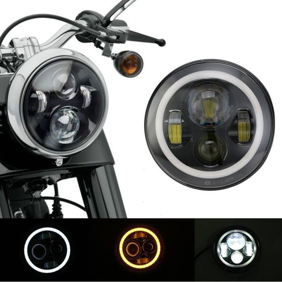 7 moto phare projecteur daymaker led blanche ambre halo pour harley achat vente phares. Black Bedroom Furniture Sets. Home Design Ideas
