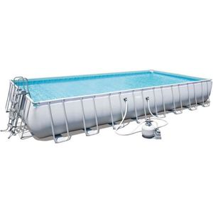 BESTWAY Kit Piscine tubulaire rectangulaire Power Steel Frame 956x488x132 avec filtre ? sable