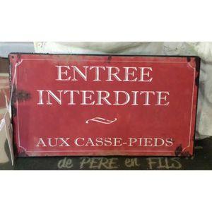 """Plaque gravée autocollante 20x15 cm /""""Entrée interdite/"""" fond rouge"""