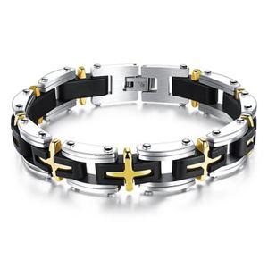 BRACELET - GOURMETTE Bracelet Croix Hommes Bracelet Véritable Silicone