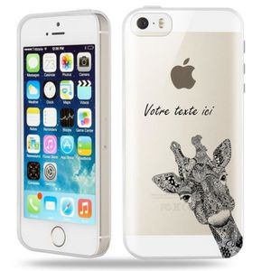 coque iphone 5 5s se girafe personnalisee noir tra