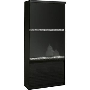 vitrine laque noir achat vente vitrine laque noir pas cher cdiscount. Black Bedroom Furniture Sets. Home Design Ideas