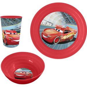 COUVERTS BÉBÉ CARS Set Déjeuner Plastique 3 Pièces