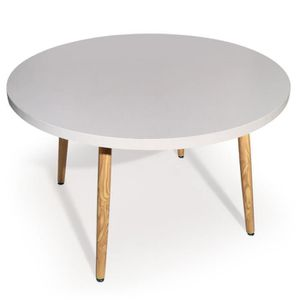 Table ronde laquee blanche achat vente table ronde for Table ronde scandinave blanche