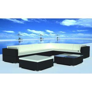 SALON DE JARDIN  24 pcs Jeu de meuble de jardin Noir Résine tressée