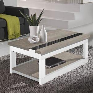 TABLE BASSE Table basse relevable Chêne clair/Bois Blanc - UPT