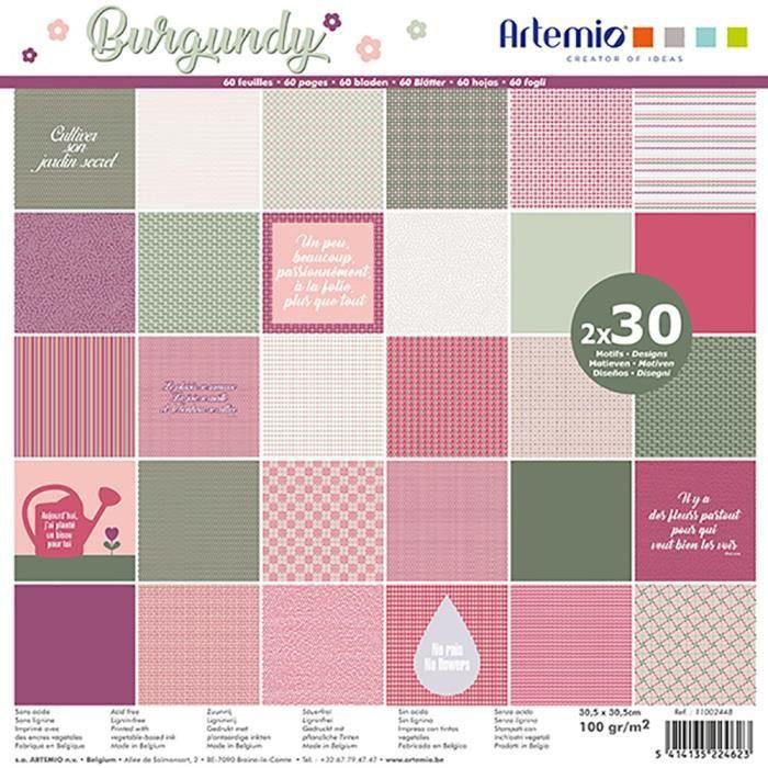 """Bloc de 60 feuilles de papier scrapbooking 30x30 cm """"Burgundy"""" d'Artemio"""