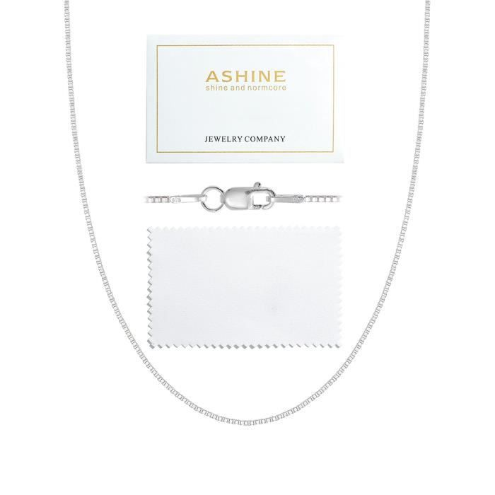 Chaine De Cou Vendue Seule RONHV Women's 925 Sterling Silver 1mm & 0.8 Italian Box Chain Necklace 16- - 30- With Silver Polishing Cl