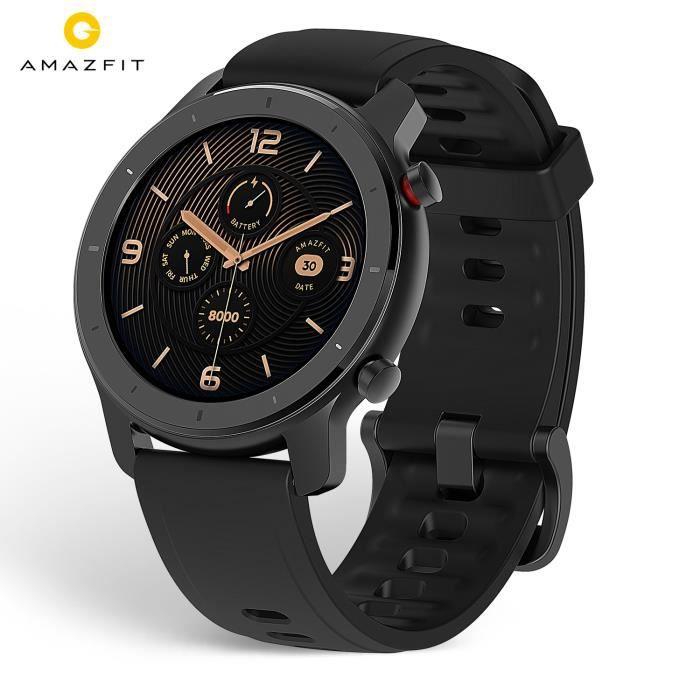 Montre intelligente Amazfit GTR 42mm Noir Cadran AMOLED de qualité Retina, Résistance à l'eau 5 ATM, 12 modes sports