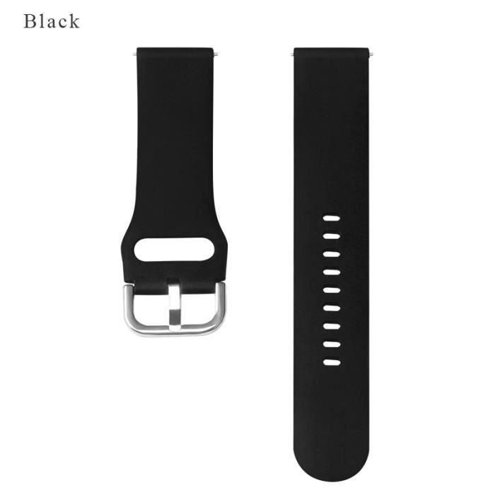 Montre connectée,BOORUI bracelet en Silicone pour Huami Amazfit Bip dragonne 20-22mm pour Samsung - Type Black-20Amazfit bip or gts