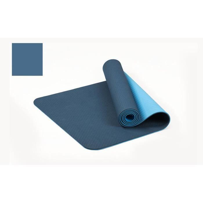 TPE antidérapant plus épais tapis de yoga bicolore tapis de fitness sportif de haute qualité tapis insipide pour la maison -bleu