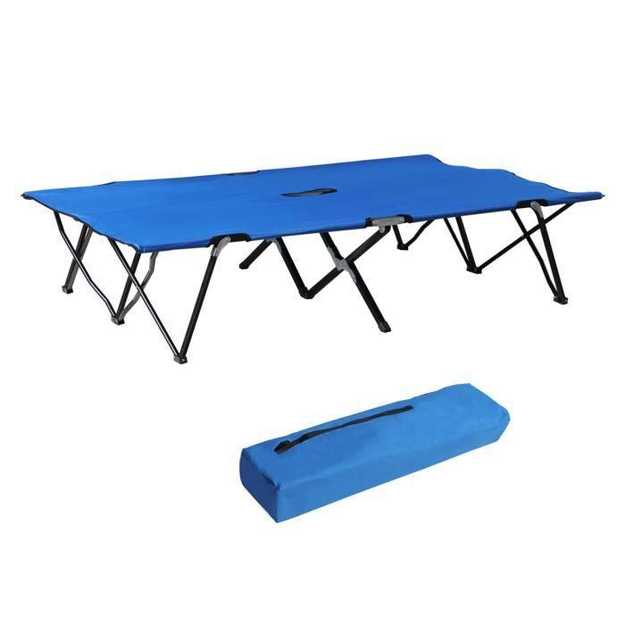 Lit de camp pliable double 193 x 125 x 40 cm avec sac de transport polyester Oxford métal bleu et noir neuf 30BU