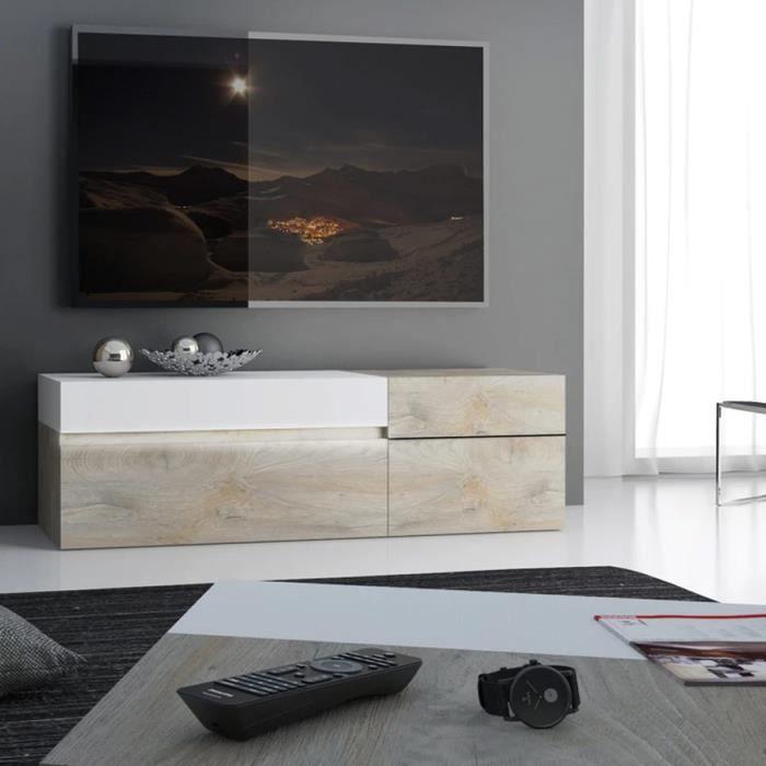 Grand meuble télé couleur chêne et blanc moderne EMILIE L 150 x P 45 x H 57 cm Marron