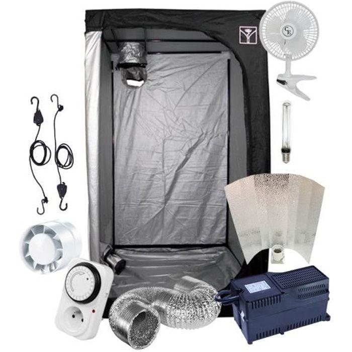 Kit Box Culture Indoor 120x120cm avec Lampe HPS 600W Classe 2 + Ventilation - Starter Pack Chambre de Culture -Prêt-à-Brancher-