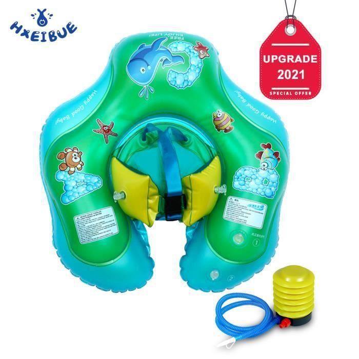 HXEIBUE Bouée pour Bébé, Anneau de natation Bébé Siège De Piscine Réglable Taille Gonflable - 54 x 50 x 19 cm