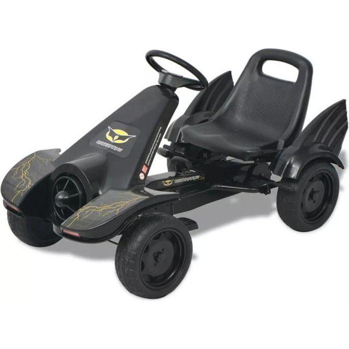 Vélo et véhicule Karting Go-Kart à pédales cadeau enfant noel 115 x 62 x 61 cm- Convient pour 3 à 8 ans avec siège ajustable Noir