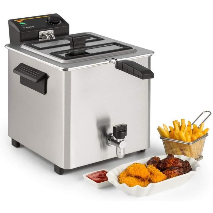 ELECTRIQUE Klarstein Family Fry - Friteuse, 3000W, 8 Litres, Thermostat r&eacuteglable en continu, Oil Drain Technologie, Zone 20