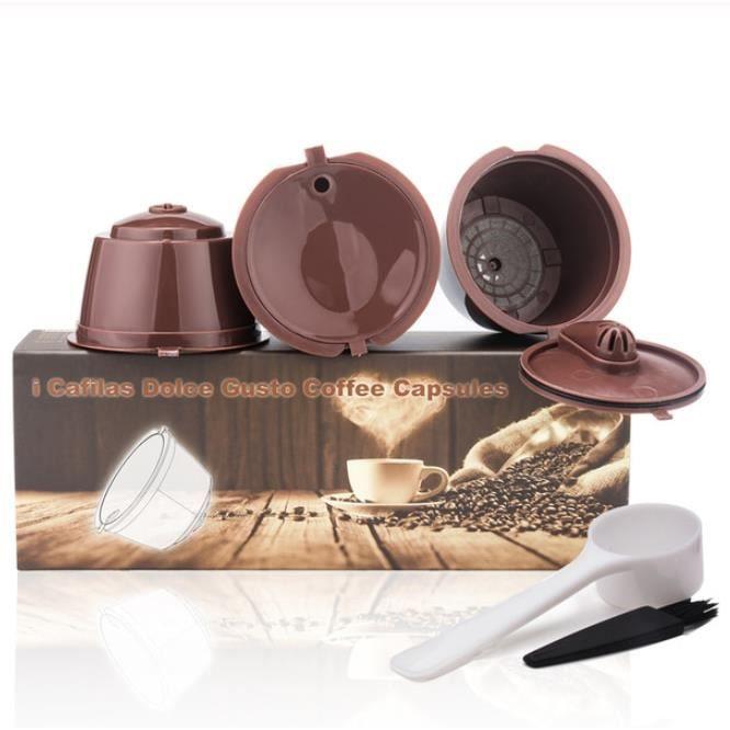 Petit déjeuner - Café,ICafilas3rd rechargeable pour Dolce Gusto café Capsule pour Dolci Nescafe Machine réutilisable - Type Brown #A