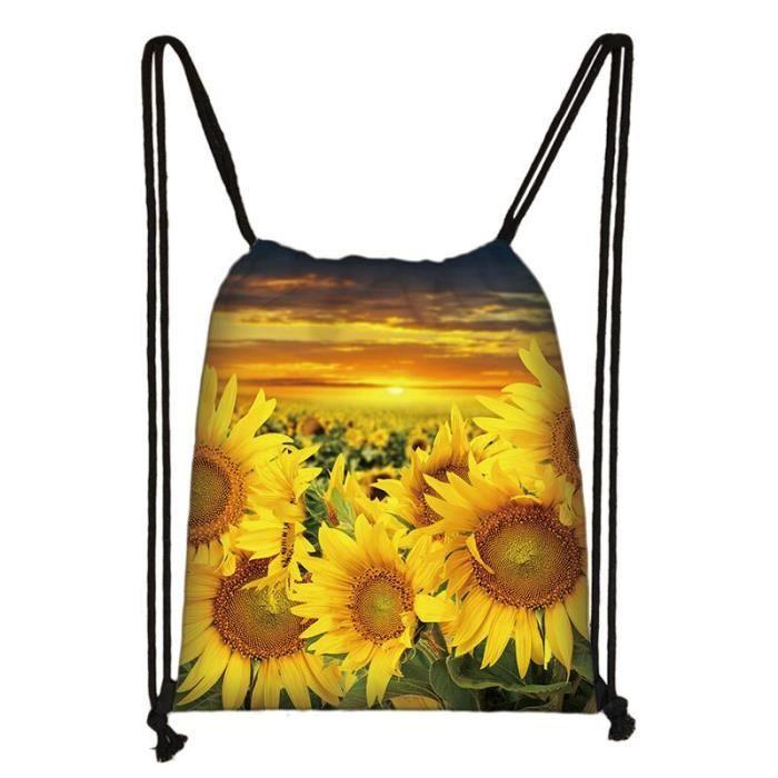Sac à dos,Van Gogh – sac tournesol nuit étoilée, sac à cordon, sacs de rangement en toile pour femmes, sac de - Type skdsunflower03