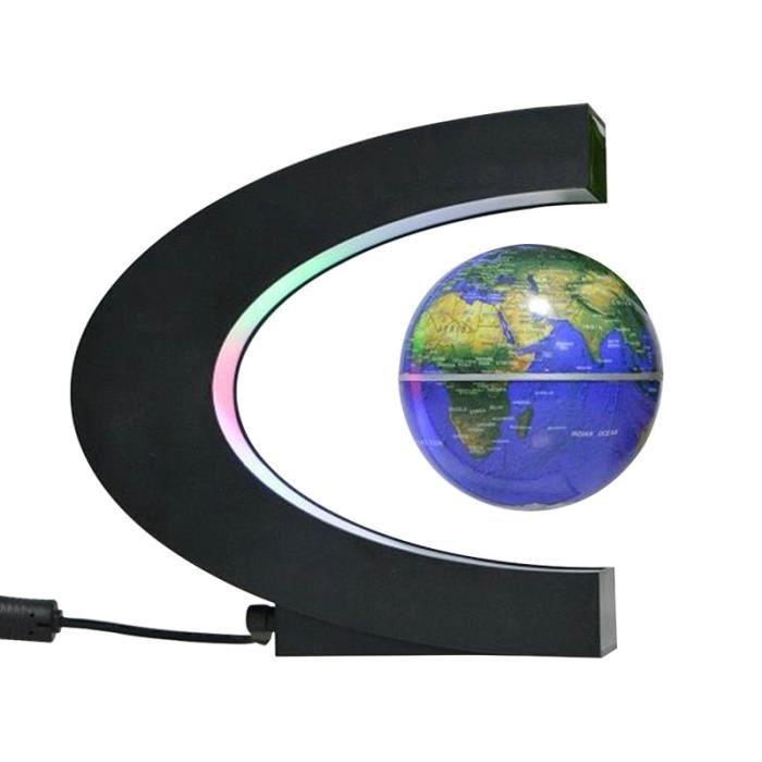 Objets décoratifs,Lampe de nuit en forme de Globe magnétique flottante, Globe magnétique, carte du monde, - Type Bleu-EU Plug