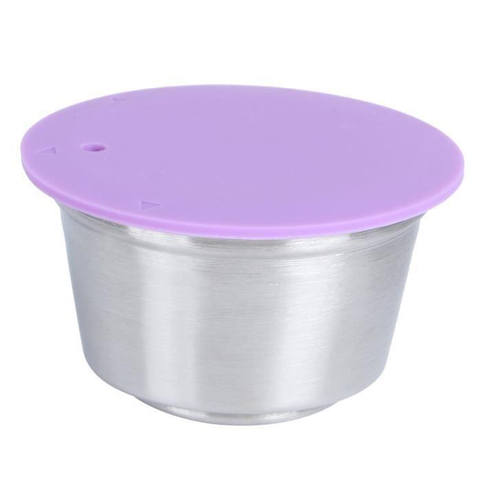 Tasse de capsule de café réutilisable en acier inoxydable adaptée à la cafetière Dolce Gusto (violet)