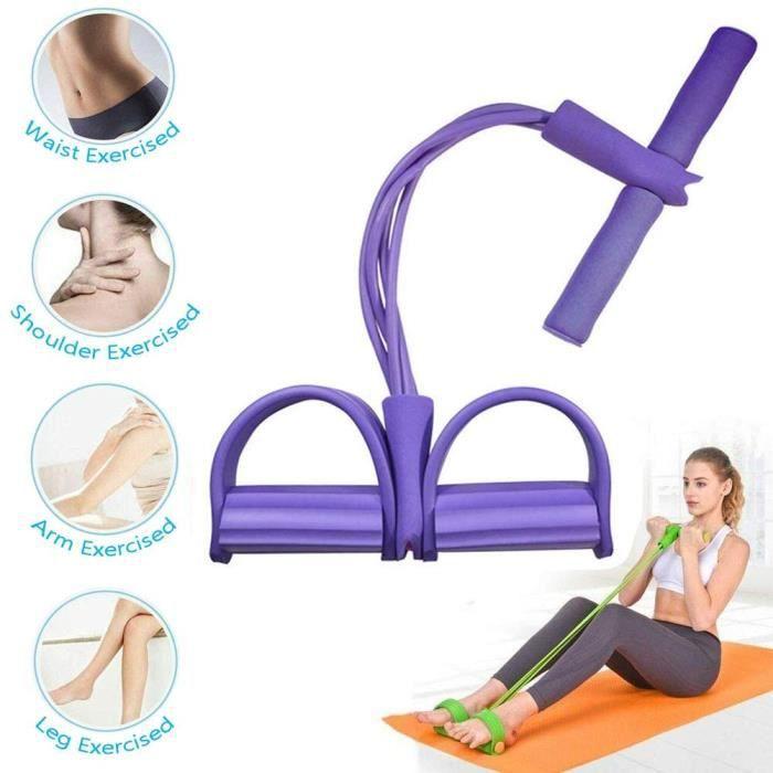 Bande Élastique - 4 Cordes de pédale pour Tube Bandes d'exercice de Musculation Expander pour Le Gymnase à la Maison