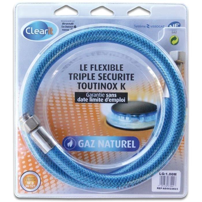 Tuyau flexible pour gaz naturel triple sécurité Vissinox à embouts mécaniques - 1 m