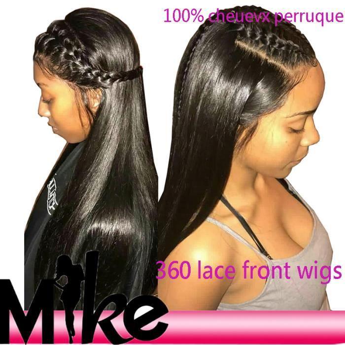 18'' Perruque Femme Naturelle MIKEHAIR Hair Naturel Perruque Brésilien lisse hair 360 Lace Frontal Wigs