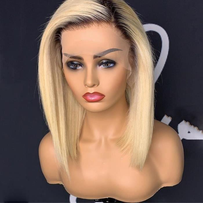 14'' Ombre 613 couleur courte droite Bob dentelle avant perruque de cheveux humains 613 miel blond brésilien naturel Remy perruque