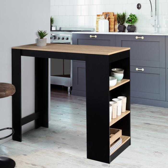 IDMARKET Table de bar BARTH 2 à 4 personnes bois noir et plateau imitation hêtre