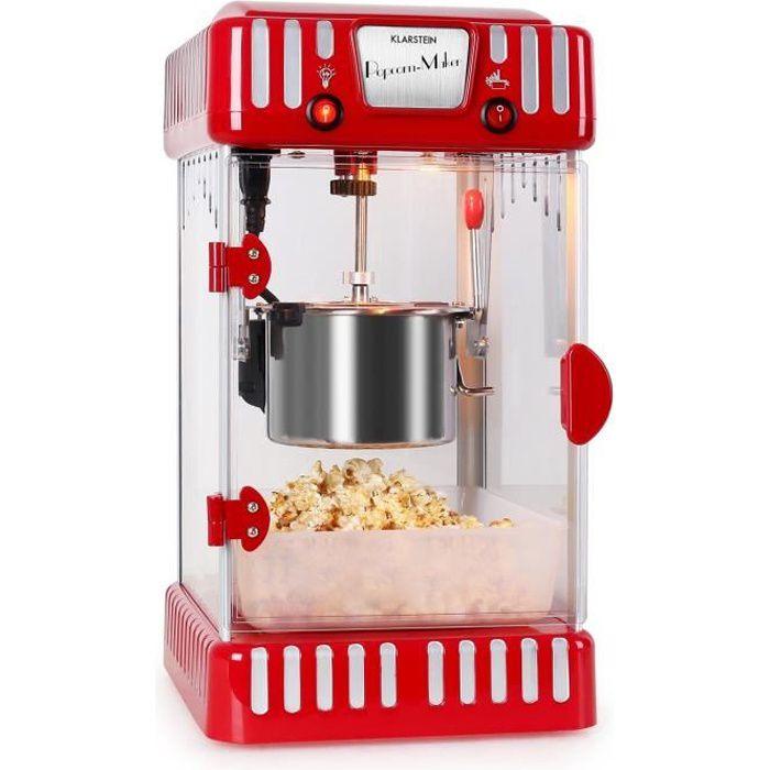 Klarstein Volcano - Machine à pop corn style rétro attrayant avec bol amovible en acier de 74mL - rouge