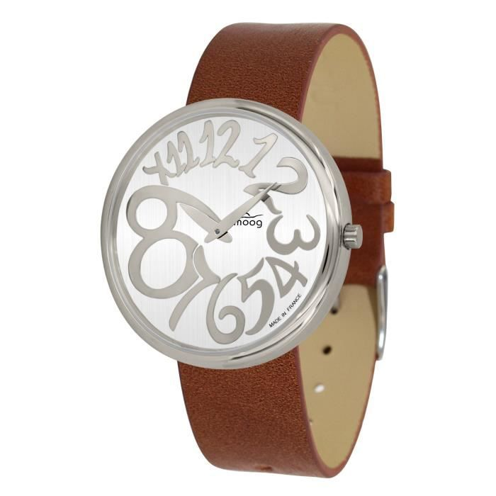 Moog Paris Ronde Art-deco Women's Watch with White Dial, Brown Strap in Genuine Leather - M41671-E14