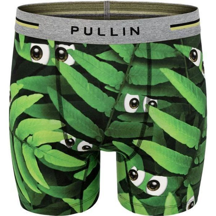 PULL IN Boxer Long Homme Coton Bio JUNGLEYES Vert Noir