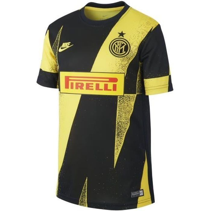 Maillot Pré-Match Inter Milan Noir/Jaune Junior 100 % Polyester