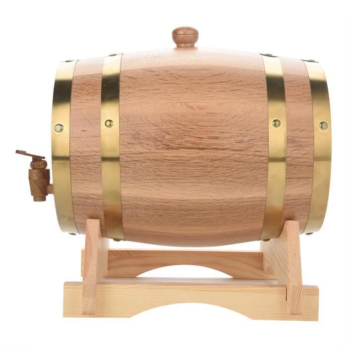 ZHI Bonne Tonneau de Vin en Bois Baril de chêne style vintage pour Stockage de Vin-Bière- Whisky et liqueurs (5L)