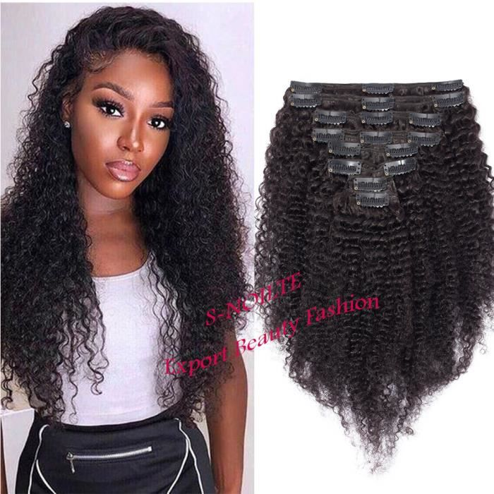 Extension Bresilienne A Clip Cheveux Humain Afro Kinky Curly Frisé Kinky Curly [Double Weft] Rajout Cheveux Epais - 24--60CM, Noir