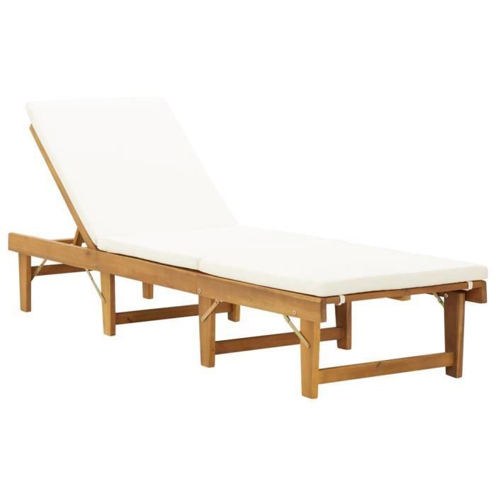 Chaise longue pliante avec coussin Bois d'acacia solide--LEB