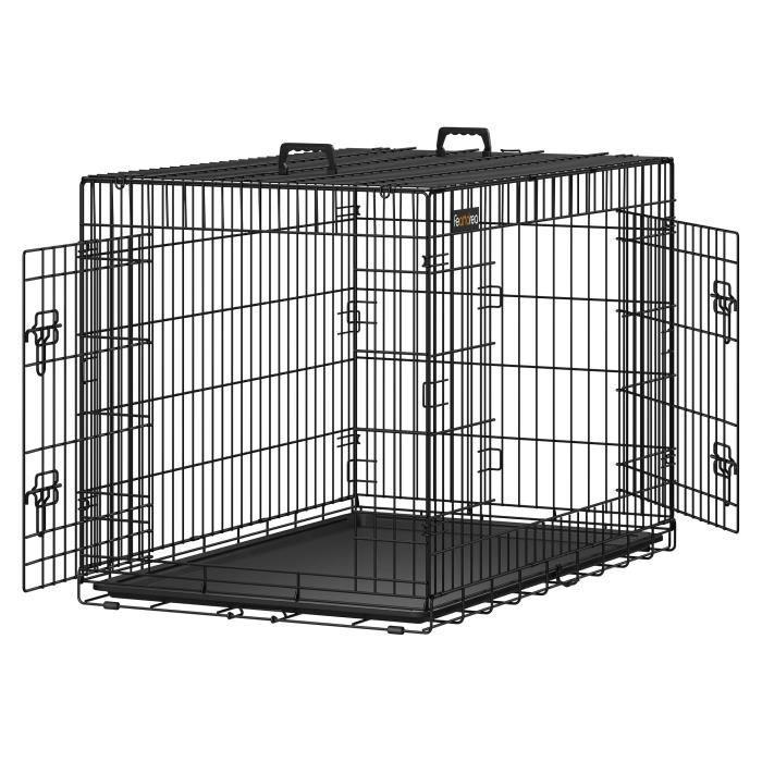 FEANDREA Cage pliable Chien 106 x 70 x 77,5 cm 2 Portes Pliable et Transportable avec Poignées et Plateau Noir XXL PPD42H