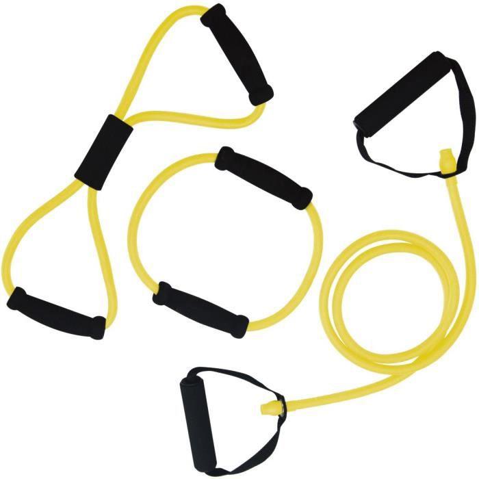 TUNTURI Set élastiques de musculation tubing léger avec grip, , jaune