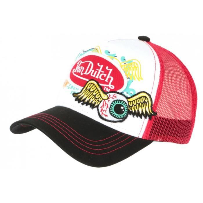 Casquette Von Dutch Rouge et Blanche Eye Ball Trucker Baseball - Taille unique - Rouge