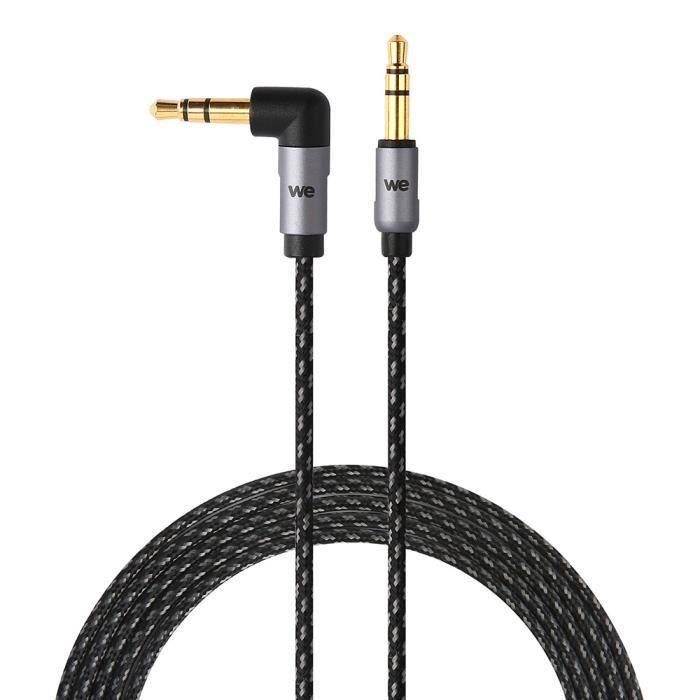 WE Câble Auxiliaire Audio Jack/Jack 3,5mm Mâle Mâle Nylon coudé 90 degrés tressé 1m50 - très résistant Fiches Or - Compatible avec