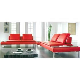 Canap d 39 angle design cuir rouge carlton achat vente canap sofa - Canape angle cuir rouge ...