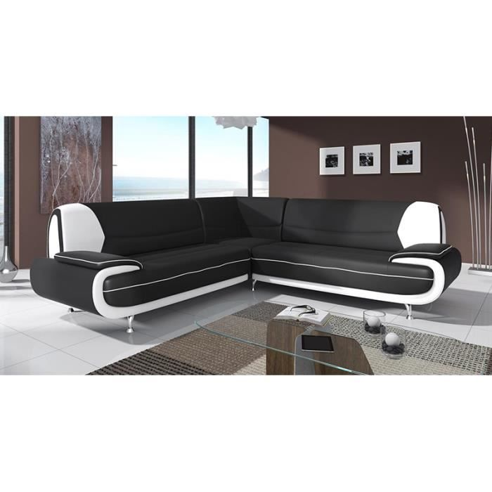 canap d 39 angle design noir et blanc 5 places achat. Black Bedroom Furniture Sets. Home Design Ideas