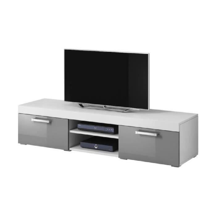 mambo meuble tv contemporain d cor blanc et gris 160 cm achat vente meuble tv mambo meuble. Black Bedroom Furniture Sets. Home Design Ideas