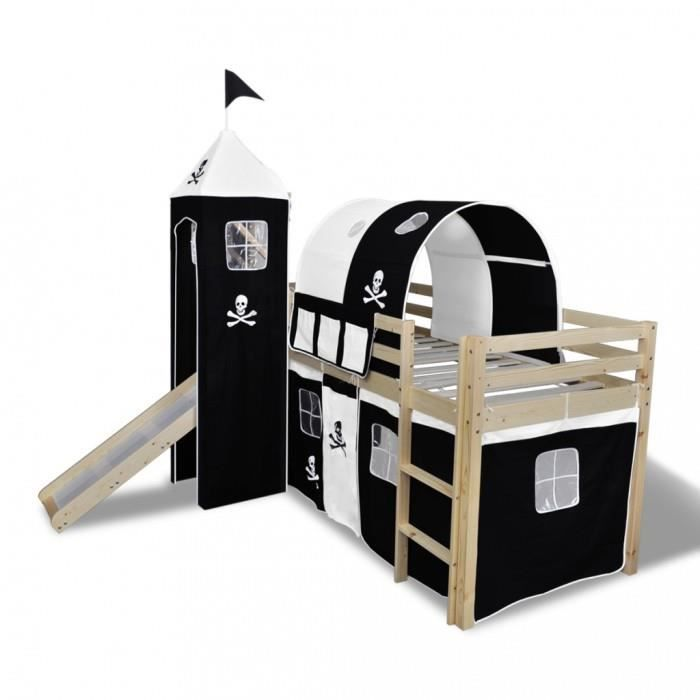 lits de bebe lit mezzanine avec echelle toboggan naturel theme des pirates achat vente lit. Black Bedroom Furniture Sets. Home Design Ideas